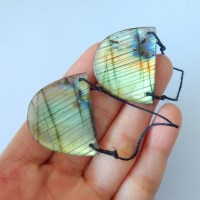 63CT Natural Flashy Labradorite Earrings With 2 Holes ...