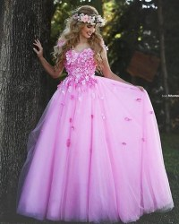 Pink Christmas Prom Dresses Ball Gown Flower Beautiful ...