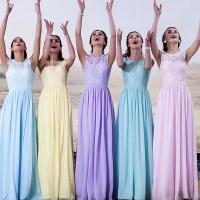Yellow Light Blue Purple Sky Blue Bridesmaid Dresses ...