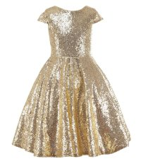 Lovely Gold Sequin Flower Girl Dresses For Wedding Short ...