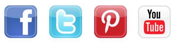 Facebook, Twitter, Pinterest und Youtube