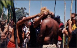 30th Anniversary of Tent Embassy, Canberra, Australia, 2002;  Jacob Rumbiak. Rex Rumakiek, Kevin Buzzacott (Arabunna Nation); Photo—Margaret Gilchrist