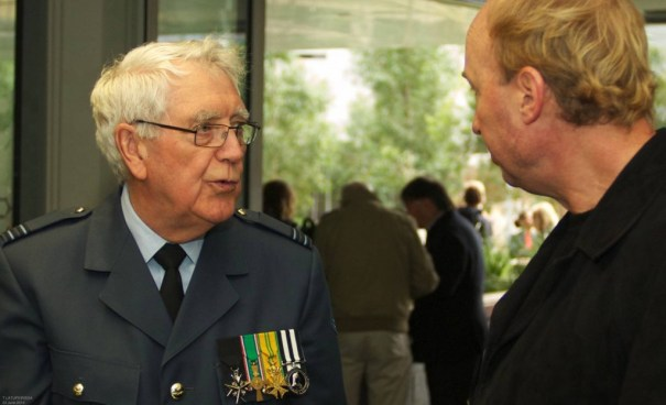 Special Guest Captain Cees Faas (Royal Netherlands Airforce, Nieuw Guinea 1962) with Professor Paul James (Professor of Globalization and Cultural  Diversity at University of Western Sydney; Director, Director, UN Global Compact Cities Programme)