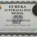 Jacob, Eureka Australia Day Medal, 3 Dec 2013