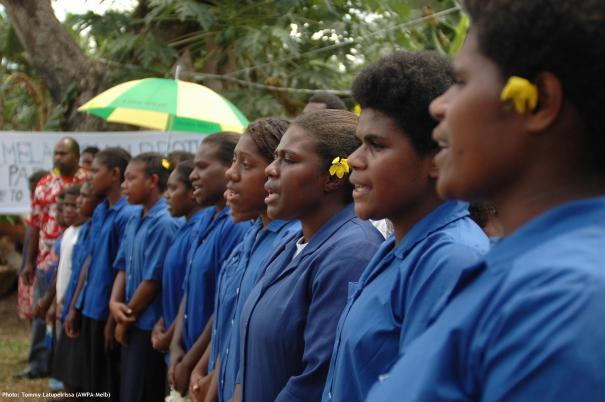 Tongoa Island Community Choir welcoming West Papua delegation to Farea ki Vete