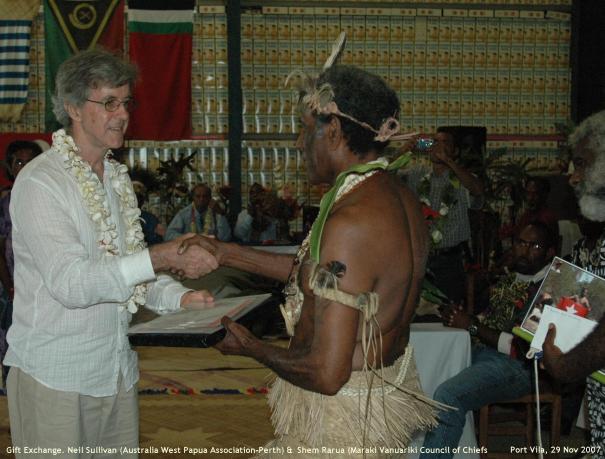 Gift Exchange, Chief Shem Rurua, Australia West Papua Assoc (WA)