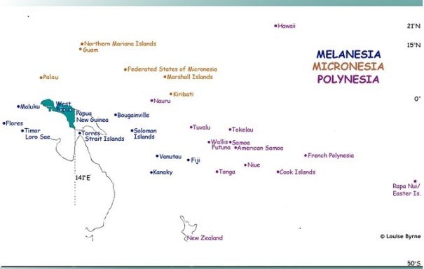 MAP of Melanesia, Micronesia and Polynesia