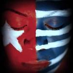 West Papua flag, face