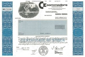 Commodore stock scam - stock certificate