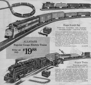 This ad from 1964 features two Allstate-branded trains, made for Sears by Marx.