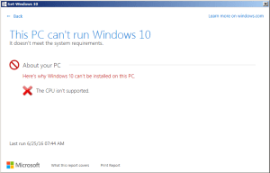 0xc1900201 error installing Windows 10 cpu_not_supported