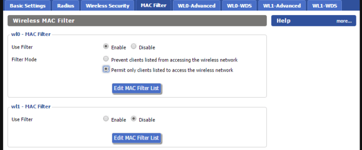 MAC address filtering in DD-WRT
