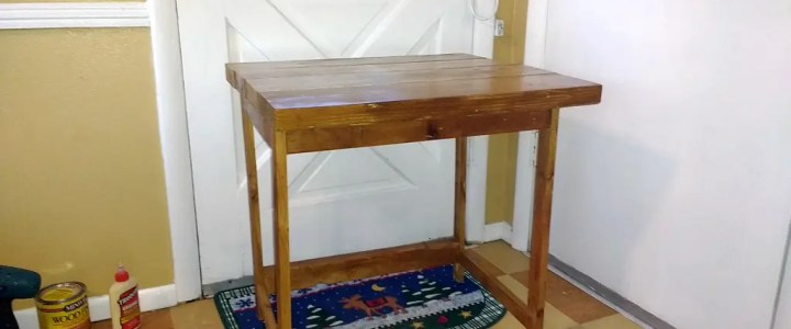 A farmhouse-style laptop desk