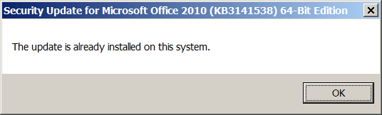 The update is already installed on this system