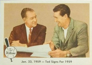 Most valuable Fleer baseball cards - Ted signs for 1959