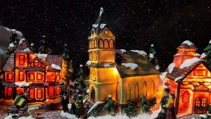 Christmas village set up tips - backdrop