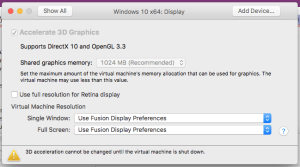 vmware fusion screen resolution too small