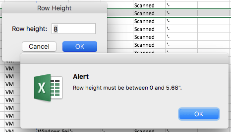 Excel row height must be between 0 and 5.68″