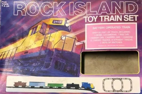 Rock Island toy train set box
