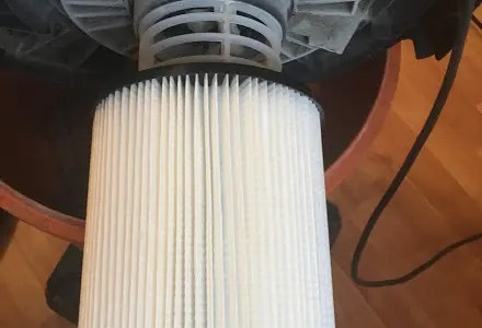 Shop vac blowing dust out back? It's the filter.