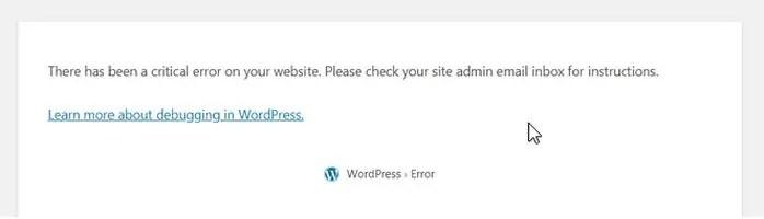 Fix the WordPress critical error on your website