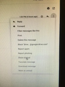 view headers in Gmail