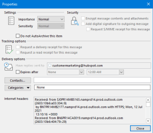 view message headers in Outlook