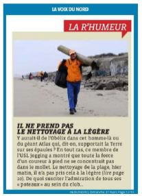 1603 La voix du Nord Bilan Nettoyage de plage IO 2016 la Rumeur René