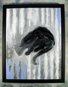 ''Le Chat 21-10-2016''. Acrylique sur toile, 14x18po. (36x46cm).