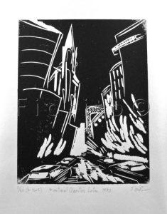 """""""Montréal Quartier latin, 1990"""". 6 x 7.5 po. (15,2 x 19 cm)."""