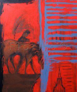 ''Vertige rouge, 10-2012'' 40 x 48 po. (102 x 122 cm)