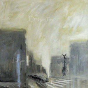 """VENDU- """"L'Ange, 04-2015"""". Acrylique sur toile 36x36 po. (91,4 x 91,4 cm)."""