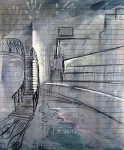 """""""Montréal, 19-04-2017, L'escalier"""". Acrylique et fusain sur toile, 40x48 po. (101x122 cm)."""