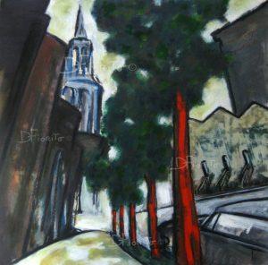 """""""Montréal Quartier latin, rue Saint-Denis, 1991"""". Huile et pastels gras sur carton 18x18'' (45,7 x 45,7 cm)."""