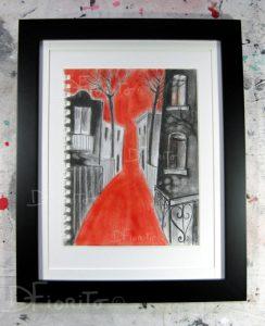 """""""La rue 06 juillet 2017 #3"""". Fusain, graphite et pastel sur papier canson 8 x 10 po. (20,3 x 25,4 cm)."""