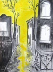 """""""Rue jaune, Mile End,17-07-2017"""". Fusain et pastel sur papier Canson 18 x 24 po. (46 x 61 cm)."""