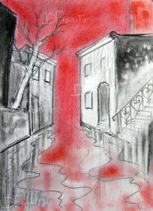 """""""La rue 06 juillet 2017 #1"""". Fusain, graphite et pastel sur papier canson 8 x 10 po. (20,3 x 25,4 cm)."""