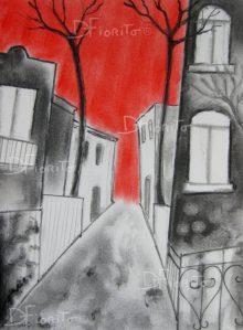 """""""La rue 06 juillet 2017 #2"""". Fusain, graphite et pastel sur papier canson 8 x 10 po. (20,3 x 25,4 cm)."""