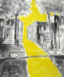 """""""Rue jaune,Mile End, #3. 27-8-2017"""". Fusain et pastel sur papier Canson 14x17 po (35,5x43,2 cm)."""