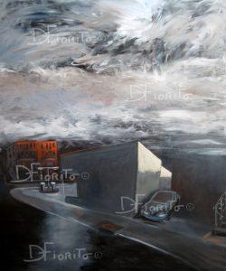 """""""La rue, 12 mars 2013"""". Acrylique sur toile. 40 x 48 po. (102 x 122 cm)."""