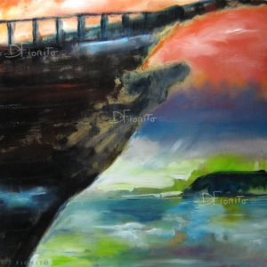 """VENDU- """"Isla Negra, la solitude lumineuse de Pablo Neruda"""" 2006. Huile sur panneau de bois, 12 x 12 po (30,5 x 30,5 cm)."""