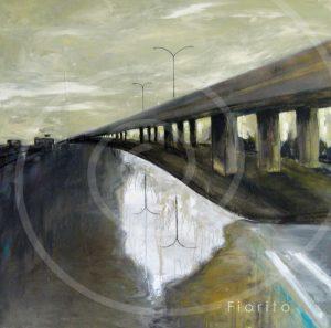 """VENDU-SOLD """"La rue, 23-06-2017"""". Acrylique sur toile 36 x 36 po. (91,5 x 91,5cm)."""