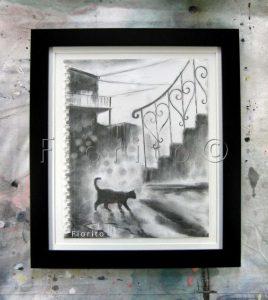 """""""La rue, 24-04-2017"""". Fusain sur papier Canson 9×12 po. (22,8×30,4 cm) dans un cadre 12 x 14 po. (30,4 x 35,5 cm)."""