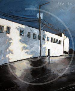 """VENDU-SOLD """"L'usine après l'orage"""", 07-2012. Acrylique sur toile 40×48 po (101,6×121,9 cm)."""