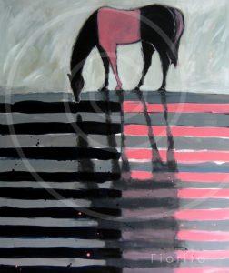"""VENDU-SOLD """"Cheval Rose et Noir"""", 09-2012. Acrylique sur toile 40 x 48 po. (101,6 x 121,9 cm)."""