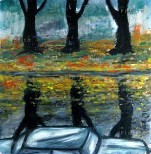 """""""Automne, 1990"""" Huile et pastels à l'huile sur carton 17,5 x 17,5 po (44,4 x 44,4 cm)."""