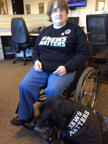 Macomb Daily editorial assistant/Guild member Erica Stark and her service dog, Cooley