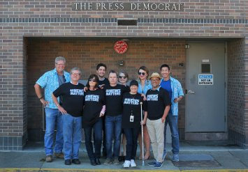 Workers at the Santa Rosa Press Democrat showing support (California).