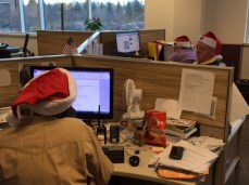 In their latest mobilizing tactic, Guild members at The Macomb Daily/Daily Tribune unit of the Detroit Guild (Local 34022) wore Santa hats, with their Guild buttons attached, or draped the hats over their work stations, shortly before Christmas on a day when the Michigan publisher of Digital First Media was in the building. Norb Franz