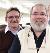 From left are Dave Levengood, circulation; Evan Brandt, editorial; and Steve Gordon, advertising.